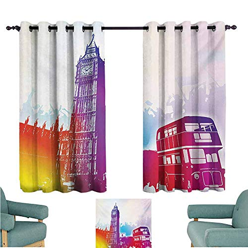 DONEECKL Sliding Curtains London Historical Big Ben and Bus Great Bell Clock Tower UK Europe Street Landmark Tie Up Window Drapes Living Room W55 xL45 Purple Red Yellow ()