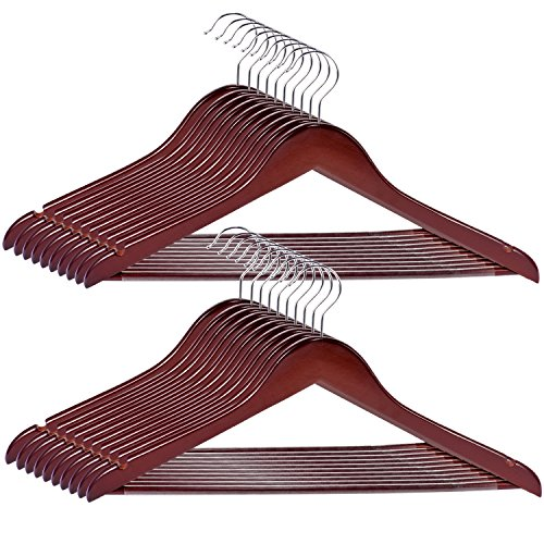 Wooden Trouser Hangers (Wood Hangers 20-Pack,Royalhanger Suit Hangers Coat Hanger Wooden Hangers for Pants Skirt Coat Trouser, Non-Slip, Walnut Finish)