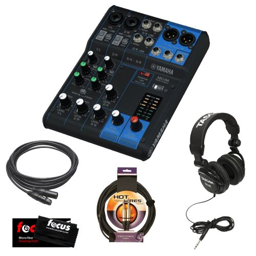 Yamaha MG06 6-Input Compact Stereo Mixer with 30ft Xlr-To-Xlr Female-To-Male Mic Cable, 10 ft Instrument Cable, Samson Stereo Headphones and Micro Fiber Cleaning Cloth by Yamaha