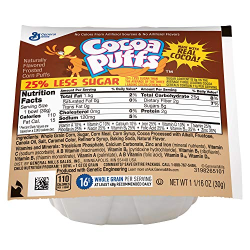 Cocoa Puffs 25% Less Sugar Bowlpak Cereal, ()