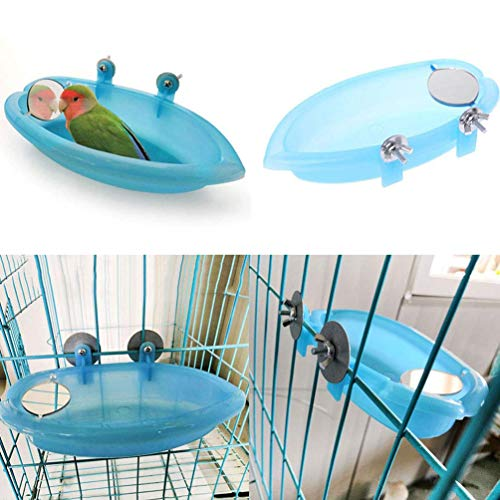 Bluelans Bird Bath with Mirror Toy for Pet Small Medium Parrot Budgie Parakeet Cockatiel Conure Lovebird Finch Canary African Grey Cockatoo Amazon Cage Shower Bathing Tub Food Feeder Bowl with Mirror