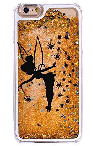 iPhone 6 / 6S , Dynamic Hard Case Glitter Bumper for Apple Clear Cover - Black Fairy in Gold (2)