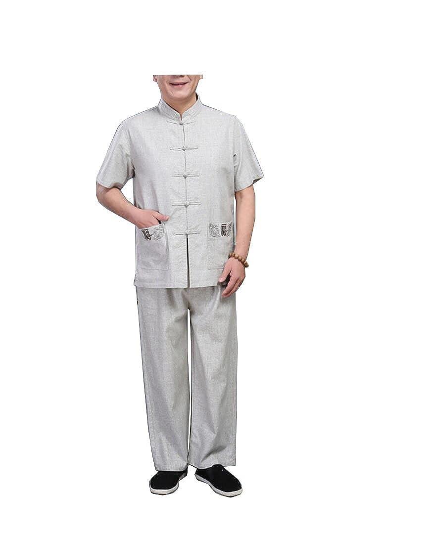 Ju Shi Tai Chi Kleidung Nationalen Mittleren Alters Leinen Tang Anzug Herren Kurzarm-Anzug Chinesischen Stil Sommer Grobe Leinen Stickerei