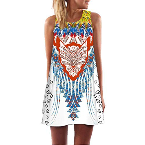 (DondPo Womens Dress Summer O-Neck Boho Sleeveless Floral Printed Beach Mini Dress Casual T-Shirt Short Beach Dress Knee Length White)