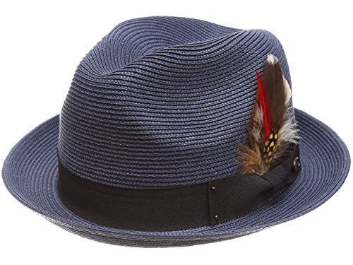 MIRMARU Men's Summer Lightweight Crushable Trilby Fedora hat with Removable Feather (F2680,Navy,SM)