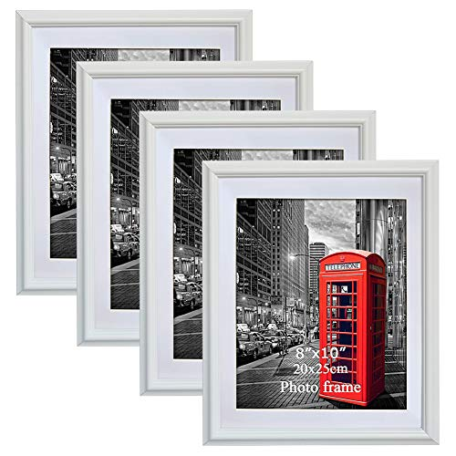 PETAFLOP 8x10 Picture Frames White 8 x 10 Decorative Poster Frame Wall Display, Set of 4pcs]()