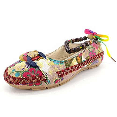 Auspicious beginning Manual Ethnic Style Round Toe Flats Casual Loafer Shoes for Ladies
