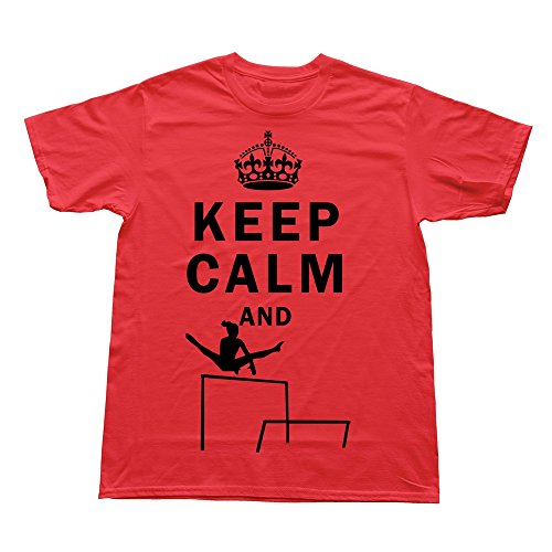 FQZX Men's Keep Calm Do Uneven Bars T Shirt Small Red]()
