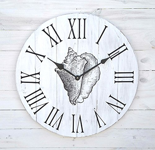 Alpine Craft Works Round Wooden Wall Clock with Sea Shell Print - Clock Alpine