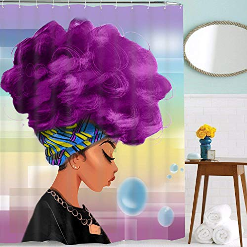 Bathroom Shower Curtains Traditional African Women with Purple Hair Afro Hairstyle Watercolor Portrait Pattern Shower Curtain, Durable Waterproof Bath Curtain with 12 Hooks (The Girl, 84