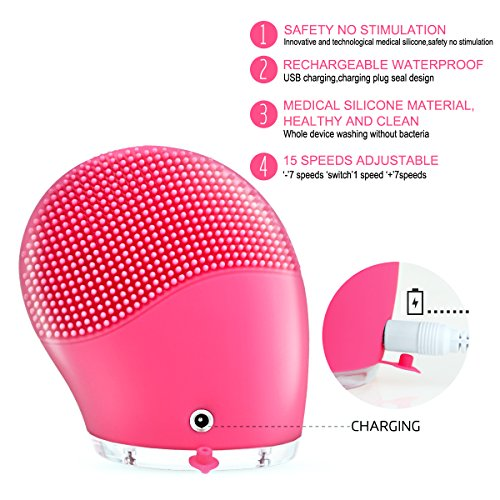 Maxpretty Makeup Facial Brush Sonic Silicone Vibrating Rechargeable Electric Waterproof Cleansing for Skin Care, Polish Scrub, Anti-Aging, Acid, Peels, Reduce Acne(Pink)