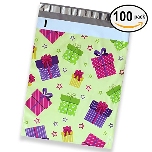 100 Pack of Mighty Gadget (R) Gift Boxes Designer Poly Mailers - 10x13 inch Shipping Envelopes with 2.35 mil Thickness