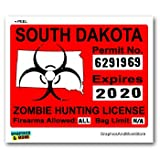 South Dakota SD Zombie Hunting License Permit Red - Biohazard Response Team - Window Bumper Locker Sticker