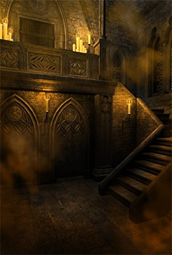 AOFOTO 3x5ft Gloomy Gothic Style Backdrop for Photography Scary Vintage Room Stone Wall Stairs Candle Halloween Background Photo Studio Props Adult Girl Boy Kid Youngster Artistic Portrait Wallpaper -