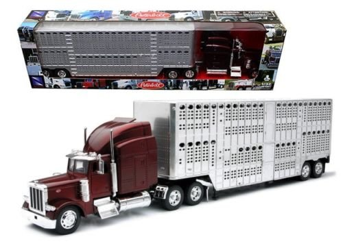 32 Scale Stock (New 1:32 PETERBILT 379 POT BELL LIVE STOCK Truck & Trailer Semi Model 12073 Diecast Model By NEW RAY TOYS)