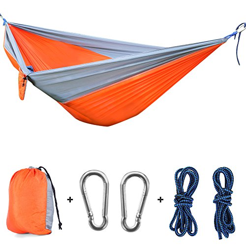 Travel Hammock Tree Sling - OUTLIFE Camping Hammock- Portable 2 Person Tree Swing Foldable 660lbs Parachute Nylon Fabric Sling Bed with Ropes&Carabiners for Garden, Backyard, Beach, Camping and Travel (Orange)