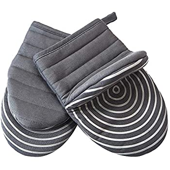 Heat Resistant Cotton Quilted Hot Mini Oven Mitts Kitchen set with Silicone Printing Non-slip Grip, Puppet Small Oven Gloves set of 2 for BBQ Cooking Baking, Grilling, Machine Washable Women Men Grey