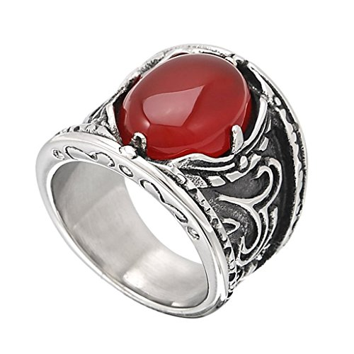 Green Man Always Sunny Costume (Beydodo Stainless Steel Mens Rings Vintage Faux Agate Claw, Red, Width 20MM Size 7)