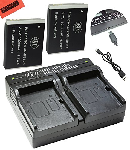 BM Premium Pack of 2 NB6L, NB-6L, NB-6LH Batteries and USB Dual Battery Charger Kit For Canon PowerShot S120, SX170 IS, SX260 HS, SX280 HS, SX500 IS, SX510 HS, SX520 HS, SX530 HS, SX540 HS, SX600 HS,