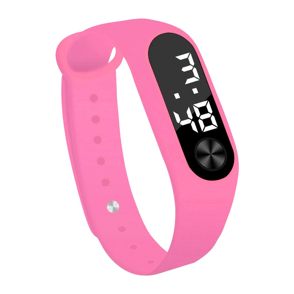 Present Hot!!!Fashion Digital LED Sports Watch Unisex Silicone Band Wrist Watches Men Women Outsta for Men Boys Holiday Gift (Pink)