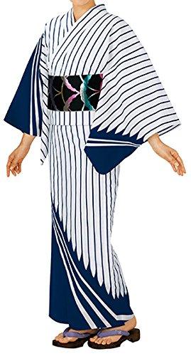 踊り衣裳 お仕立上り浴衣 大印 本絵羽ゆかた 白×濃紺 レディース