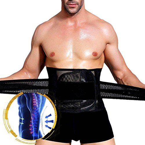 Slimerence Breathable Adjustable Waist Trimmer Lumbar Support Belt, Waist Support, Adjustable Straps and Shapewear, Lose Weight, Beer Belly Trainer Belt, Pain Relief, Sports (Black, XXXL) by Slimerence