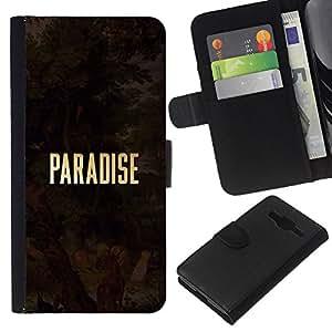 KLONGSHOP // Tirón de la caja Cartera de cuero con ranuras para tarjetas - Oro Texto Dios cristiano Religión - Samsung Galaxy Core Prime //