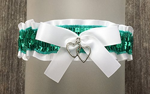 (Sexy White Satin Teal Jade Sequin Accented Keepsake Wedding Bridal Garter - Double Heart Charm)