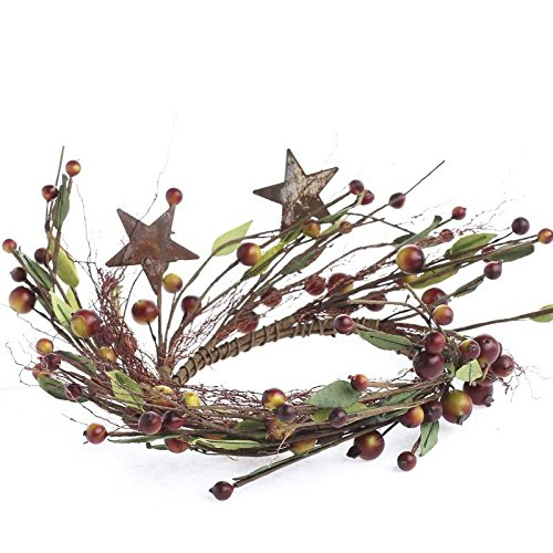 (4 Whispy Faux Willow Grass Rusted Star and Wild Berry Candle Rings for Arranging, Crafting and Creating)