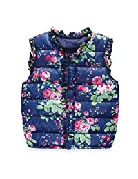 Norbi Cute Kids Toddler Girls Floral Warm Down Vest Waistcoat Outerwear 2-7Y