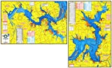 Topographical Fishing Map of Lake Texoma - With GPS Hotspots