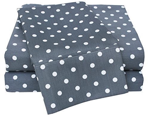 Superior Polka Dot Sheet Set, 600 Thread Count Cotton Blend Bedding Sets, Soft and Wrinkle Resistant Sheets with Deep Fitting Pockets - Twin, Grey