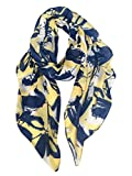 GERINLY Womens Scarves: Leaves Flower Print Soft Cozy Wrap Shawl (Yellow Blue)