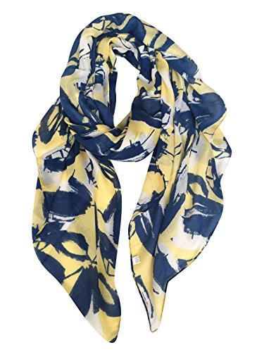 GERINLY Womens Scarves: Leaves Flower Print Soft Cozy Wrap Shawl (Yellow Blue) by GERINLY