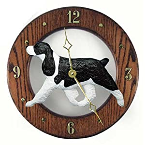 Michael Park Black English Springer Spaniel Wall Clock in Dark Oak 9