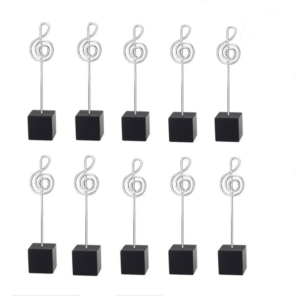 10pcs Music Shape Table Number Holder Name Place Card Holder Memo Clip Holder Standr Pictures Card Paper Menu Clip … (Black)