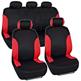 Red Trim Black Car Seat Covers Full 9pc Set - Sleek & Stylish - Split Option Bench 5 Headrests Front & Rear Bench