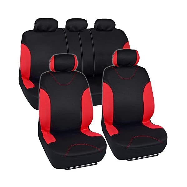 BDK OS 334 CC Charcoal Trim Black Car Seat Covers Full 9pc Set   Sleek & Stylish   Split Option Bench 5 Headrests Front & Rear Bench