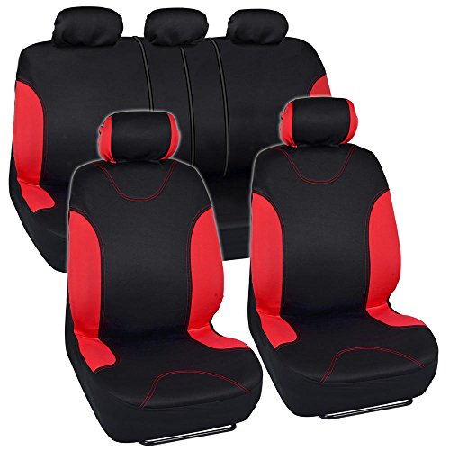 Red Trim Black Car Seat Covers Full 9pc Set - Sleek & Stylish - Split Option Bench 5 Headrests Front & Rear Bench (Chevy Equinox Car Seat Covers)