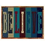 Wood-Framed Believe Metal Sign, Motivational Rules to Live By, Positive Thinking, Modern … on reclaimed, rustic wood