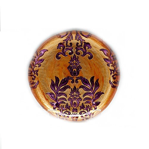 - Red Pomegranate Damask Canape Plate Copper Purple 6.5-Inch