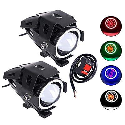 Selites High Power Motorcycle Headlight U7 LED Motor Fog Light DRL Driving Running Light Red Devil Eye Spotlight with Red Angel Eye Ring for ATV Truck Switch Control