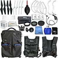 Accessory kit for DJI Phantom 4 includes Ultimate Backpack + Intelligent Flight Battery + Multi-Charger Hub for Phantom 4 Intelligent Flight Battery + 64GB SD Memory Card & More!