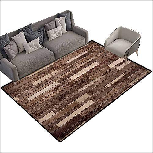 (Indoor/Outdoor Rubber Mat Wooden,Wall Floor Textured Planks Panels Picture Art Print Grain Cottage Lodge Hardwood Pattern,Brown 80