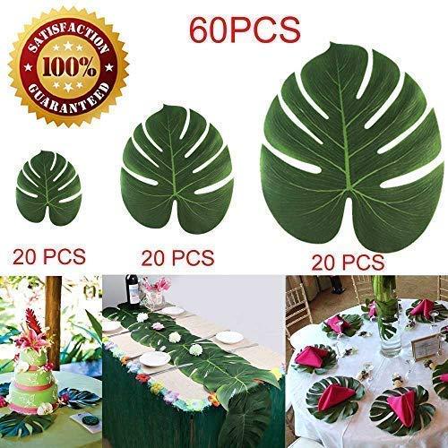 -  LOMIRO 60Pcs Tropical Palm Leaves Plant Imitation Leaf Hawaiian Luau Party Jungle Beach Theme BBQ Birthday Party Table Decorations(20 Small+ 20 Medium + 20 Large)