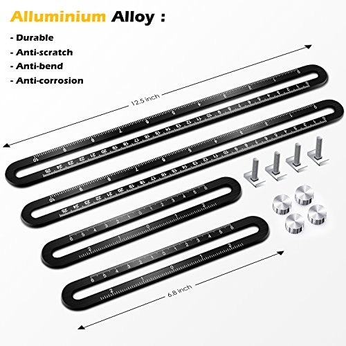 Template Tool Multi Angle Measuring Ruler General Measurement Tool Universal Upgraded Aluminum Alloy Angularizer Ruler for Craftsman Builder Carpenter Architect by XRB (Image #3)
