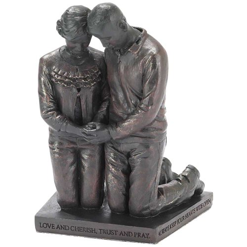 Dicksons Love Cherish Praying Husband Wife 5 inch Gray Resin Stone Table Figurine