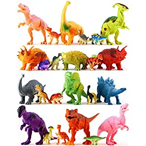 "24 Colorful Dinosaur Toys - Educational Set Of 12 Large 7"" & 12 Mini 1"" Plastic Realistic Figure & Playset - T-rex Spinosaurus Triceratops & More - Fun Game Kids Boys & Girls Age 3 + Years Old Gift"