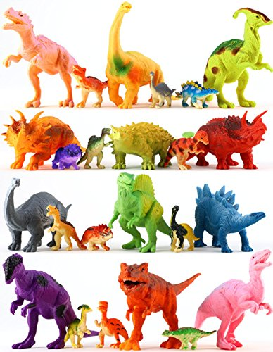 "24 Colorful Dinosaur Toys - Educational Set Of 12 Large 7"" & 12 Mini 1"" Plastic Realistic Figure & Playset - T-rex Spinosaurus Triceratops & More - Fun Game Kids Boys & Girls Age 3 + Years Old Gift 24 Kids Plastic Car"