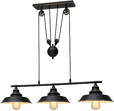 KingSo Pulley Pendant Light 2 Light, Kitchen Island Light Adjustable Industrial Rustic Chandelier Farmhouse Vintage Ceiling Lights Fixture for Kitchen